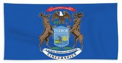Michigan State Flag Beach Towel by American School