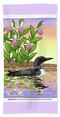 Minnesota State Bird Loon And Flower Ladyslipper Beach Towel by Crista Forest