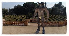 Minotaur In The Labyrinth Park Barcelona. Beach Sheet by Joaquin Abella