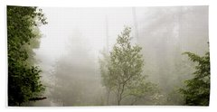 Beach Towel featuring the photograph Misty Road At Forest Edge, Pocono Mountains, Pennsylvania by A Gurmankin