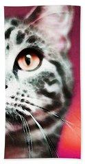 Modern Cat Art - Zebra Beach Towel by Sharon Cummings
