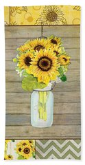 Modern Rustic Country Sunflowers In Mason Jar Beach Towel by Audrey Jeanne Roberts