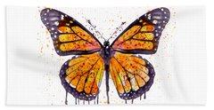 Monarch Butterfly Watercolor Beach Sheet by Marian Voicu