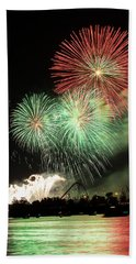 Montreal-fireworks Beach Towel by Mircea Costina Photography