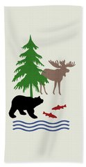 Moose And Bear Pattern Art Beach Towel by Christina Rollo
