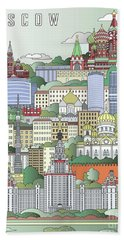 Moscow City Poster Beach Towel by Pablo Romero