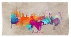 Moscow Russia Skyline City Art Beach Towel by Justyna JBJart
