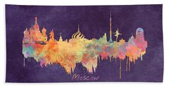 Moscow Russia Skyline City Beach Towel by Justyna JBJart