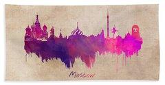 Moscow Russia Skyline Purple Beach Towel by Justyna JBJart