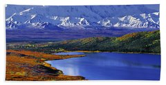 Mount Mckinley And Wonder Lake Campground In The Fall Beach Towel by Tim Rayburn