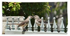 Mr And Mrs Mockingbird With Worms Beach Towel by Linda Brody