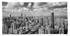 Near North Side And Gold Coast Black And White Beach Towel by Adam Romanowicz