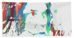 Neil Young Paint Splatter Beach Towel by Dan Sproul