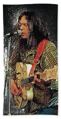 Neil Young Beach Towel by Taylan Apukovska