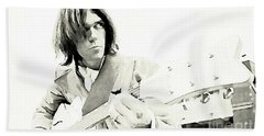 Neil Young Watercolor Beach Towel by John Malone