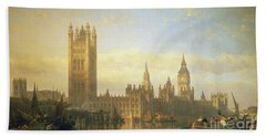 New Palace Of Westminster From The River Thames Beach Towel by David Roberts