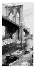 New York City Brooklyn Bridge Beach Sheet by Edward Fielding