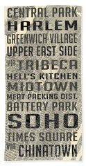 New York City Subway Stops Vintage Map 5 Beach Sheet by Edward Fielding