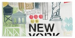 New York Cityscape- Art By Linda Woods Beach Sheet by Linda Woods