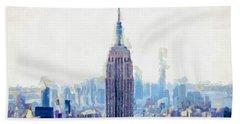 New York Skyline Art- Mixed Media Painting Beach Sheet by Wall Art Prints