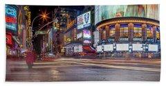 Nights On Broadway Beach Sheet by Az Jackson