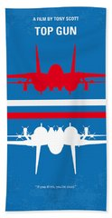 No128 My Top Gun Minimal Movie Poster Beach Towel by Chungkong Art