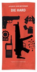 No453 My Die Hard Minimal Movie Poster Beach Towel by Chungkong Art