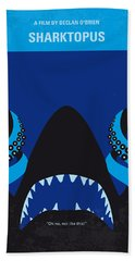 No485 My Sharktopus Minimal Movie Poster Beach Towel by Chungkong Art