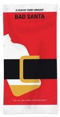 No702 My Bad Santa Minimal Movie Poster Beach Towel by Chungkong Art