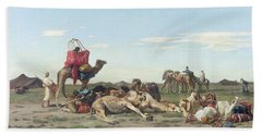 Nomads In The Desert Beach Towel by Georges Washington