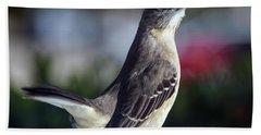 Northern Mockingbird Up Close Beach Towel by William Tasker