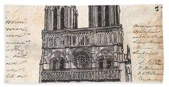 Notre Dame De Paris Beach Sheet by Debbie DeWitt