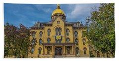 Notre Dame University Golden Dome Beach Towel by David Haskett