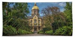 Notre Dame University Q1 Beach Towel by David Haskett