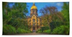 Notre Dame University Q2 Beach Towel by David Haskett