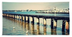 Old Fort Myers Pier With Ibises Beach Sheet by Carol Groenen