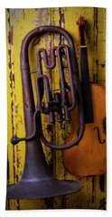 Old Horn And Violin Beach Towel by Garry Gay