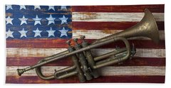 Old Trumpet On American Flag Beach Towel by Garry Gay