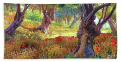 Olive Trees And Poppies, Tranquil Grove Beach Towel by Jane Small