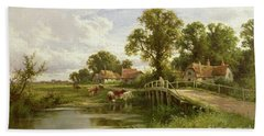 On The Thames Near Marlow Beach Sheet by Henry Parker