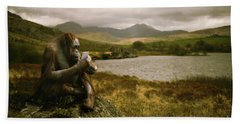 Orangutan With Smart Phone Beach Sheet by Amanda Elwell