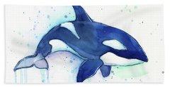 Orca Whale Watercolor Killer Whale Facing Right Beach Towel by Olga Shvartsur