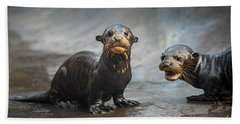 Otter Pup Pair Beach Sheet by Jamie Pham
