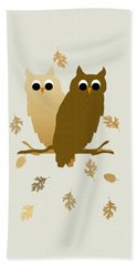 Owls Pattern Art Beach Towel by Christina Rollo