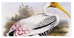 Painted Stork Beach Towel by John Gould