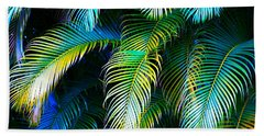 Palm Leaves In Blue Beach Towel by Karon Melillo DeVega