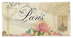 Parchment Paris - Timeless Romance Beach Sheet by Audrey Jeanne Roberts