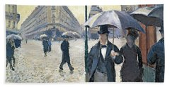 Paris A Rainy Day Beach Towel by Gustave Caillebotte