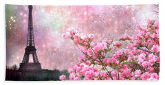 Paris Eiffel Tower Cherry Blossoms - Paris Spring Eiffel Tower Pink Blossoms  Beach Sheet by Kathy Fornal