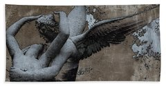 Paris Eros And Psyche - Surreal Romantic Angel Louvre   - Eros And Psyche - Cupid And Psyche Beach Towel by Kathy Fornal